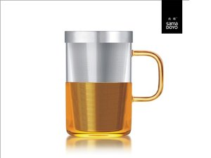 Samadoyo large glass with fine filter for lose tea. Yellow handle