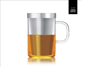 Samadoyo large glass with fine filter for lose tea. With transparant handle