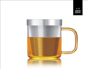 Samadoyo glass with fine filter for lose tea. Yellow handle