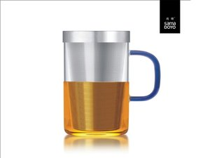 Samadoyo large glass with fine filter for lose tea. Blue handle