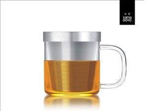 Samadoyo glass with fine filter for lose tea. Transparant handle