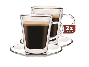 Thermo-glass set of two: Lungo 220 ml. with saucer