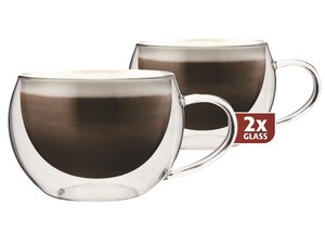Thermo-glass set of two: Cappuccino 300 ml.