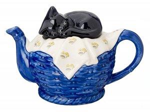 Cat on Basket Blue