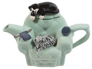 Cats Chair Green One Cup Teapot