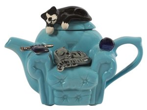 Cats Chair Blue One Cup Teapot