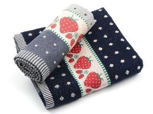 Bunzlau Kitchen Towel Strawberry Dark Blue