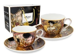 Carmani Set of 2 Cup and Saucer - Klimt The Kiss and Judith