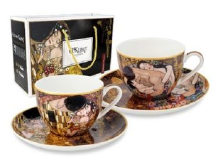 Carmani Set of 2 Cup and Saucer - Klimt The Kiss and Three Ages of Women