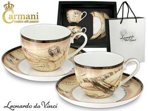 Carmani Set of 2 Cup & Saucers - Leonardo Da Vinci Human body & Giant Crossbow