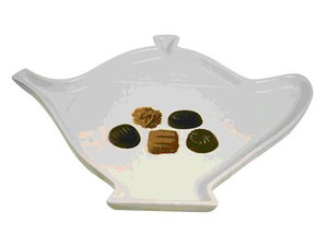 Dish, teapotshape, chocolate decoration