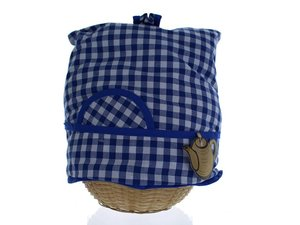 Teacosy with basket: blue squares pattern
