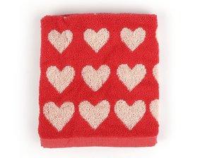Bunzlau Kitchen Towel Hearts Red