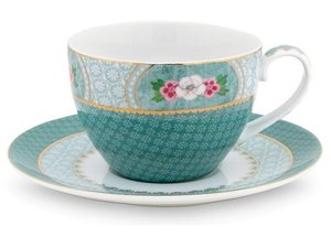 Pip Studio Cappuccino cup and saucer Blushing Birds Blue