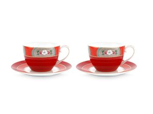 Pip Studio Cappuccino cup and saucer Blushing Birds Red