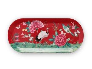 Pip Studio Cake Tray Oval Blushing Birds Red