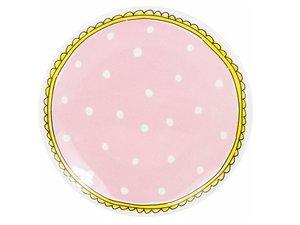 Blond Amsterdam Cake Plate Pink Dots 18 CM