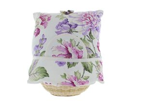 Teacosy with basket: Purple flowers pattern