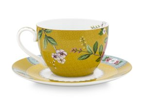 Pip Studio Cappuccino cup and saucer Blushing Birds Yellow