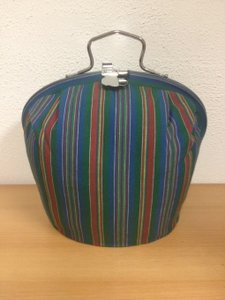 Teacosy with clip: Green-Blue-Red Stripe pattern