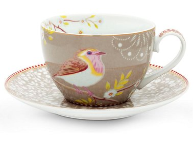 Pip Studio Cappuccino cup and saucer Early Bird Pink