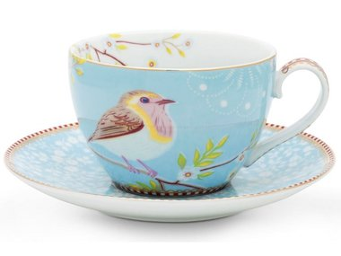 Pip Studio Cappuccino cup and saucer Early Bird Blue