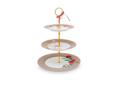 Pip Studio Cake Stand 3 layers Floral Khaki