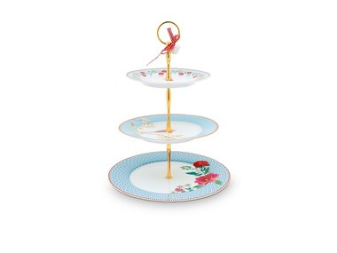 Pip Studio Cake Stand 3 layers Floral Blue