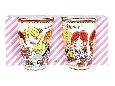 Blond Amsterdam Set 2 Mugs XL Small Talk Red and Pink Rim
