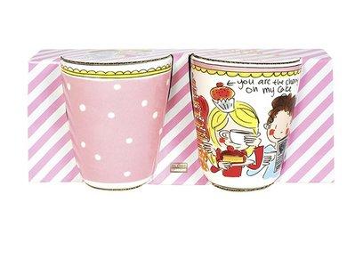Blond Amsterdam Set 2 Mugs Small Talk Pink Dots