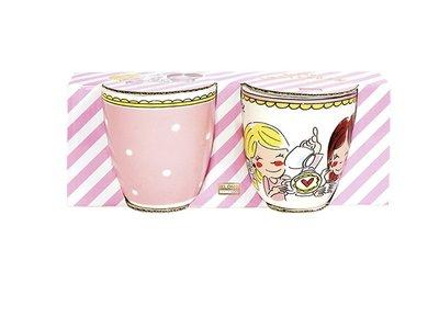 Blond Amsterdam Set 2 Mini Mugs Small Talk Pink Dot