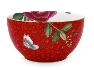 Pip Studio Bowl Blushing Birds Red With Flower 9,5 cm